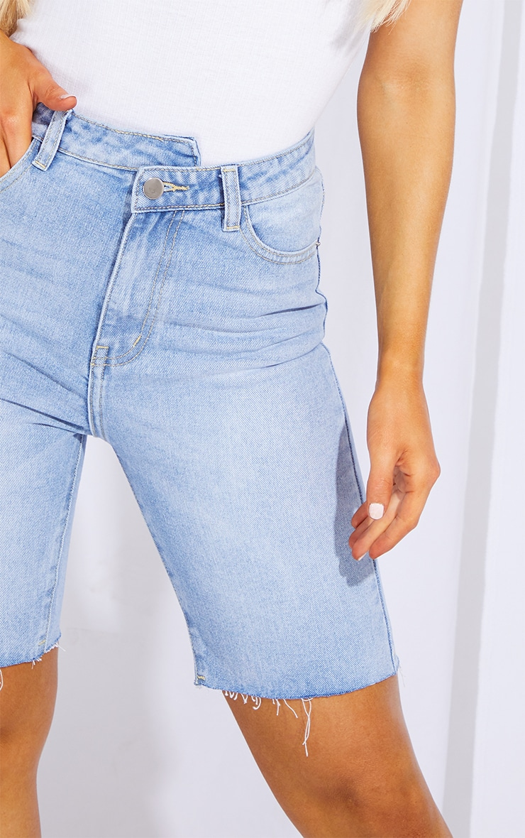 Light Blue Wash Asymmetric Waist Longline Denim Shorts 5