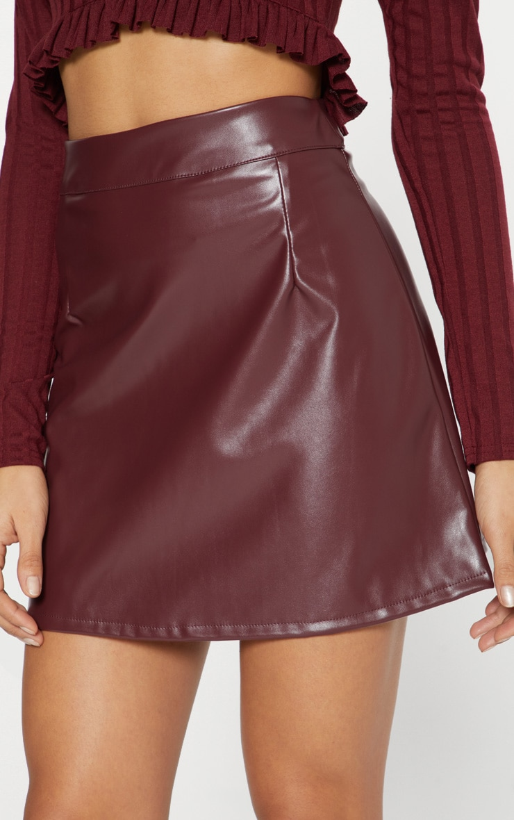 Maroon Faux Leather A Line Mini Skirt  6