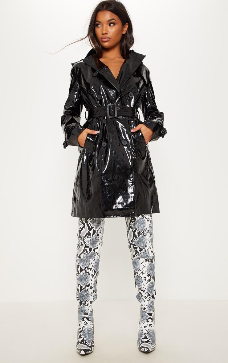 Black Wet Look Hooded Rain Coat