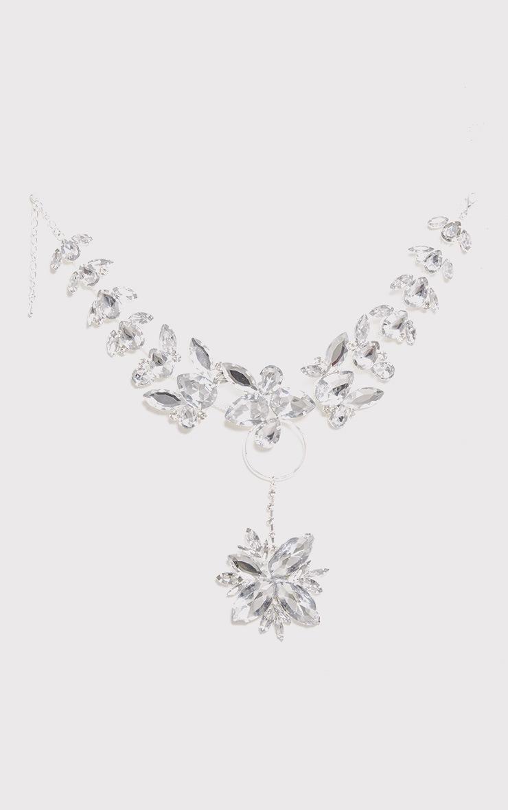 Marzia Silver Jewel Circle Drop Choker  2