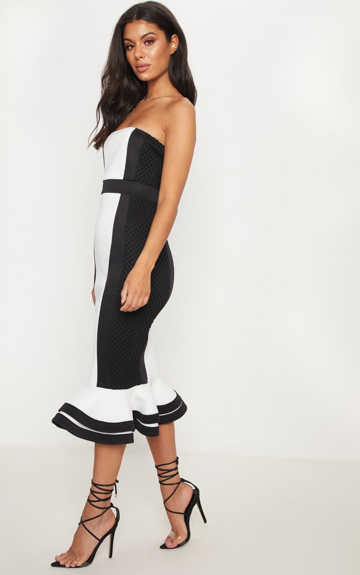 Monochrome Bandeau Contrast Detail Fishtail Midi Dress 4