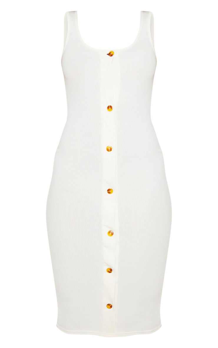 Ecru Ribbed Button Detail Midi Dress 3