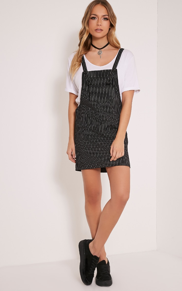 Adyna Black Knitted Pinstripe Pinafore Dress 5