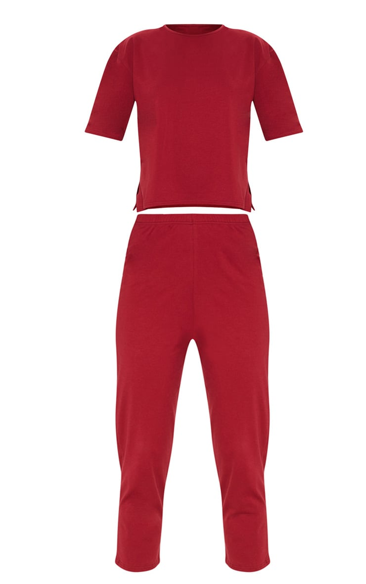Burgundy Jersey Crew Neck Boxy T Shirt & Trouser Set 3