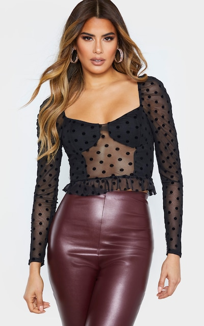 Tall Black Polkadot Mesh Long Sleeve Crop Top