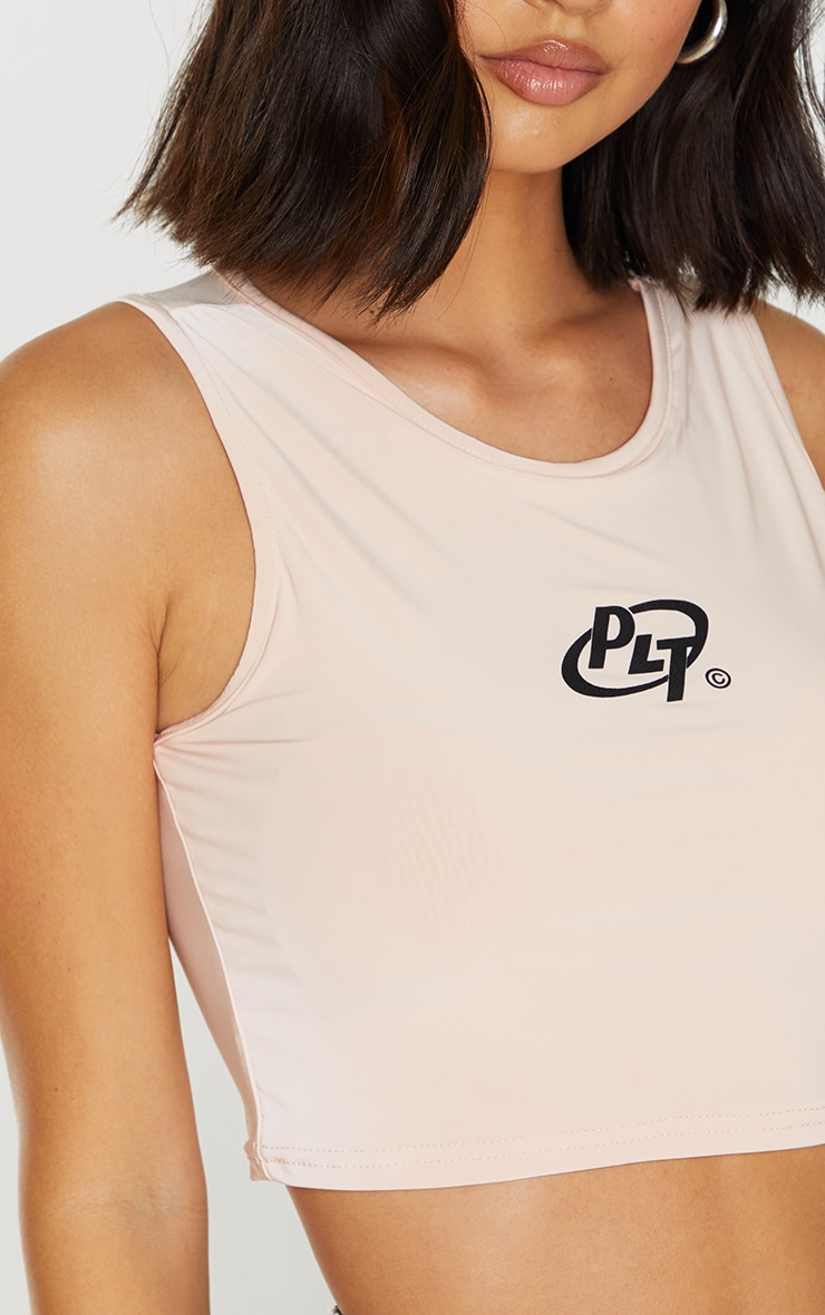 PRETTYLITTLETHING Nude Slinky Circle Logo Racer Crop Top 4