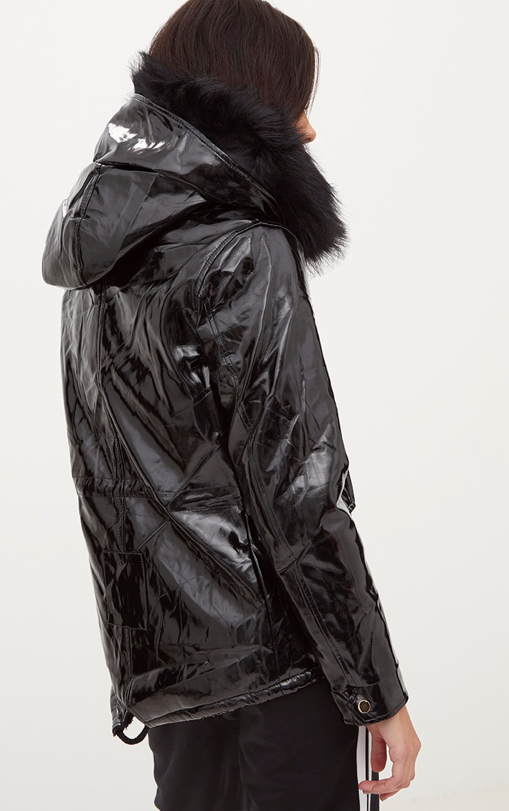 Black Vinyl Faux Fur Trimmed Hooded Coat 2