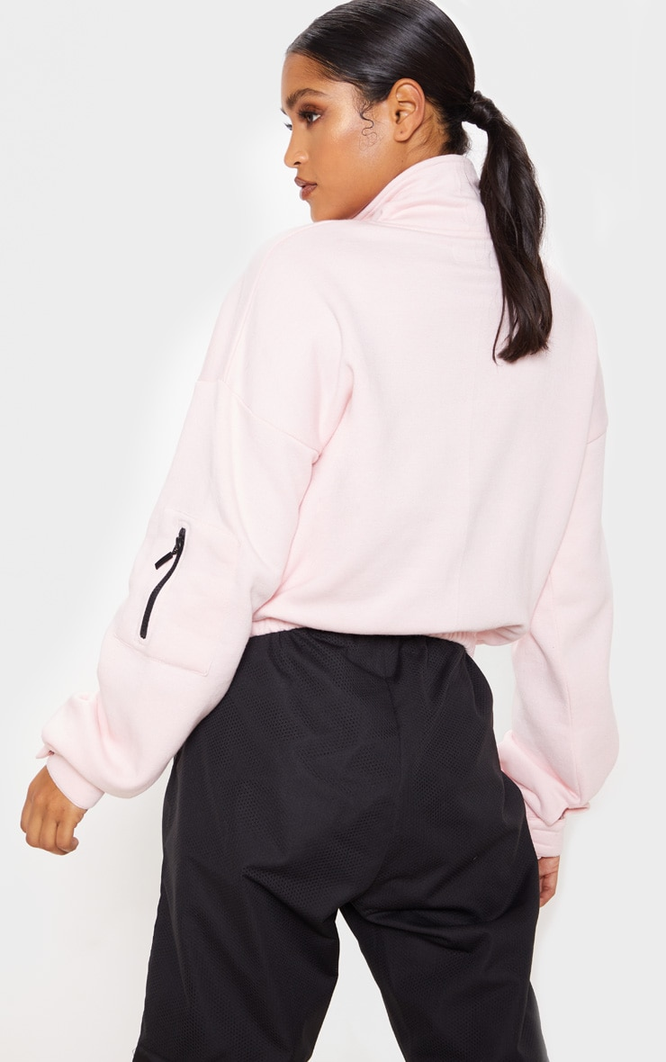 Baby Pink Oversized Zip Front Sweater 2