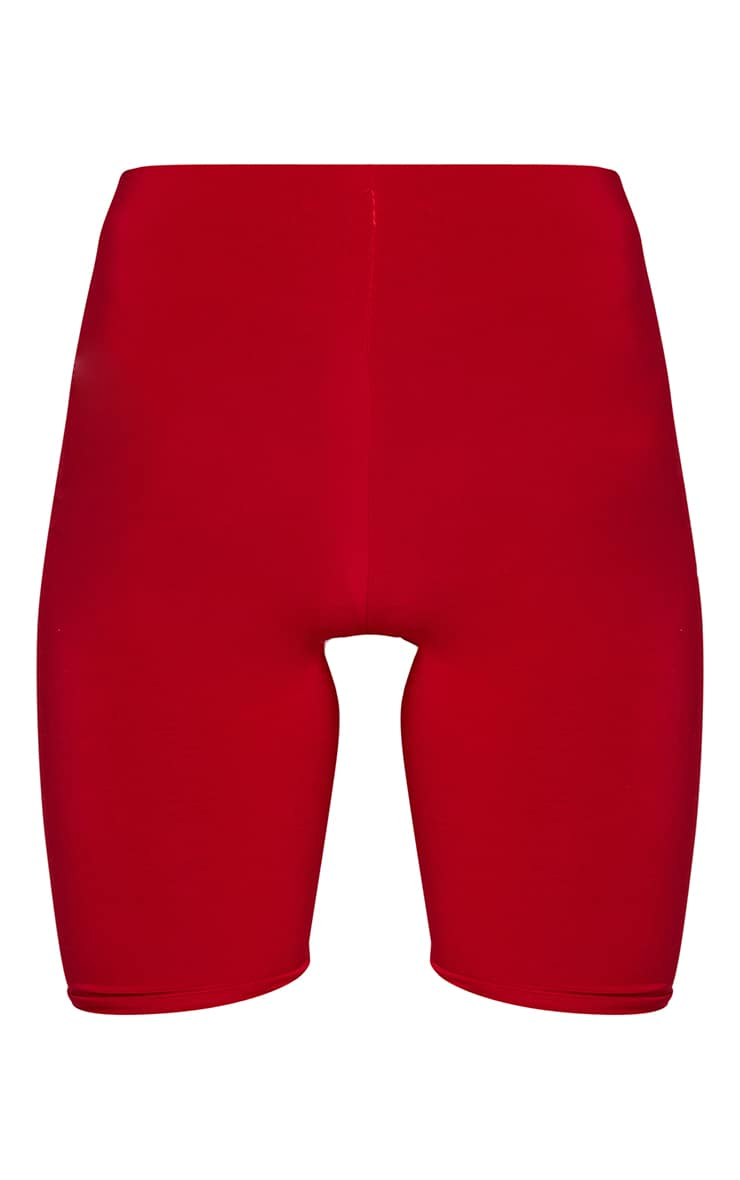 Bella Red Slinky High Waisted Cycle Shorts 6