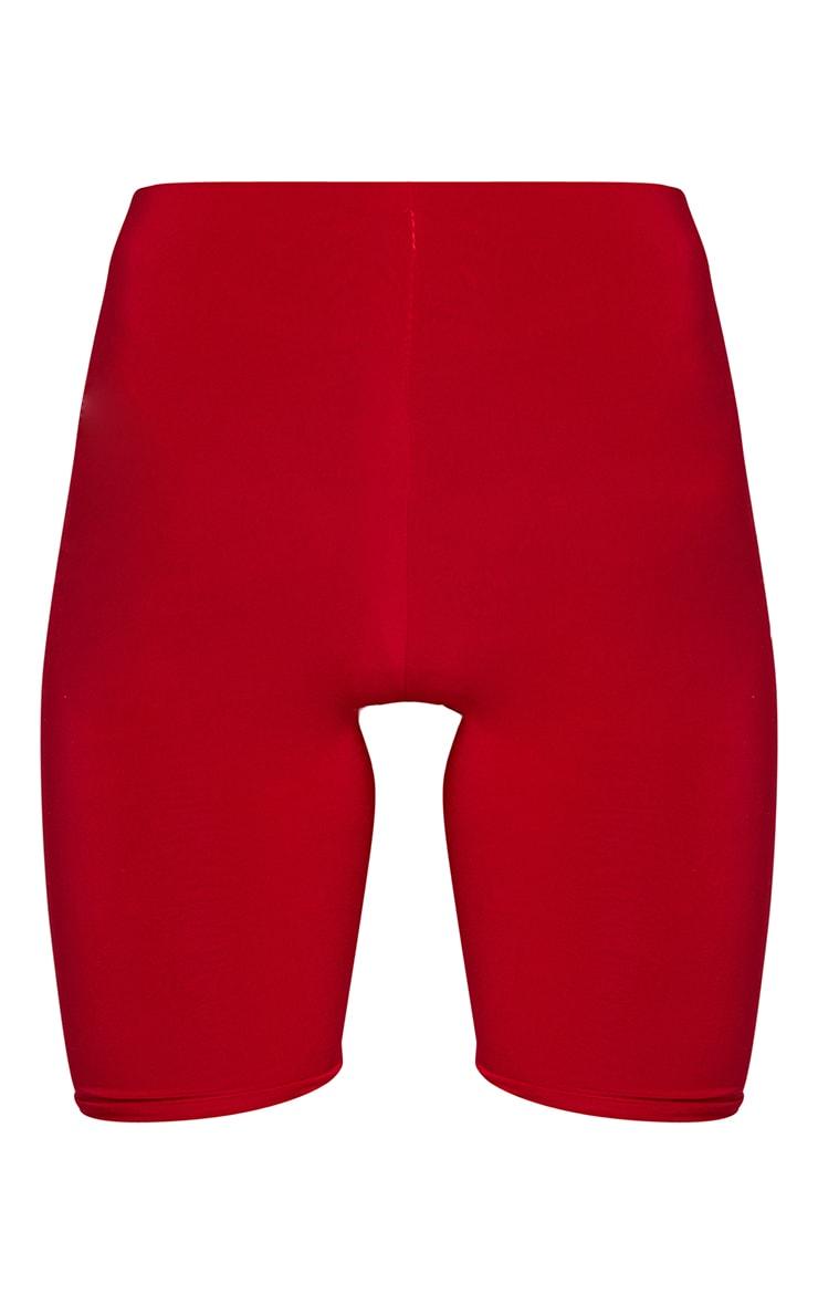 Bella Red Slinky High Waisted Bike Shorts 6