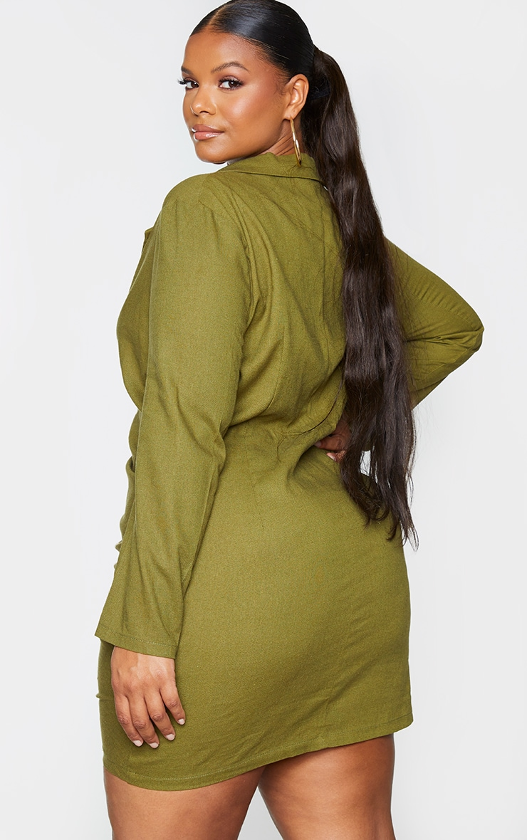 Plus Khaki Plunge Ruched Front Blazer Dress 2