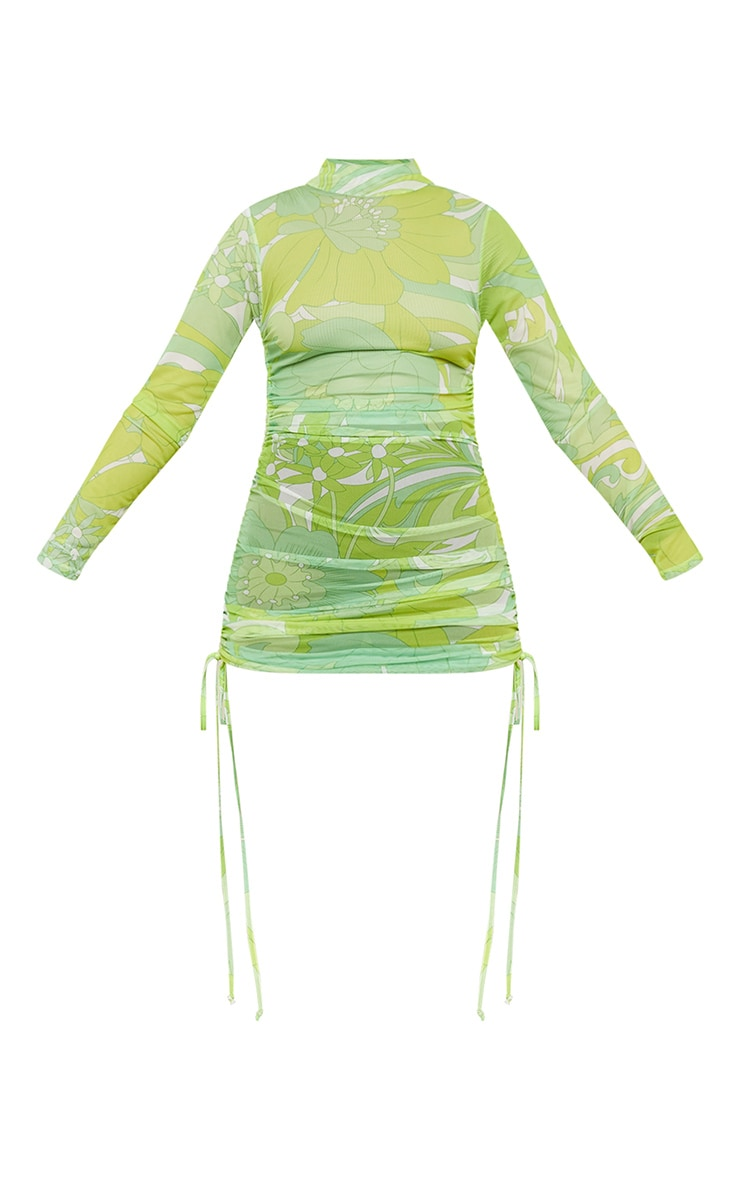 Lime Floral Mesh Ruched Bodycon Dress 5