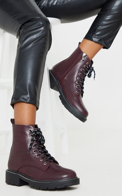 Burgundy Chain Sole Cleated Chunky Lace Up Ankle Boot