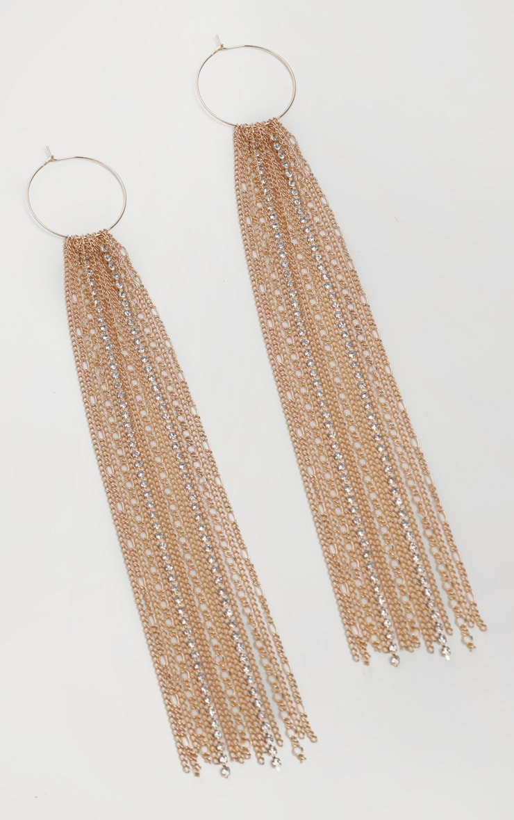 Gold Hoop Chain and Diamante Drop Earrings 2