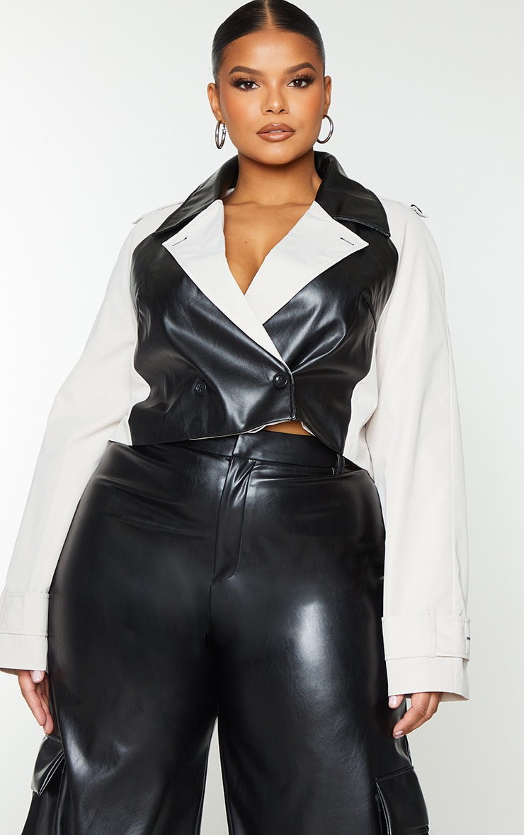 Plus Stone Contrast Panel PU Cropped Trench Jacket 2