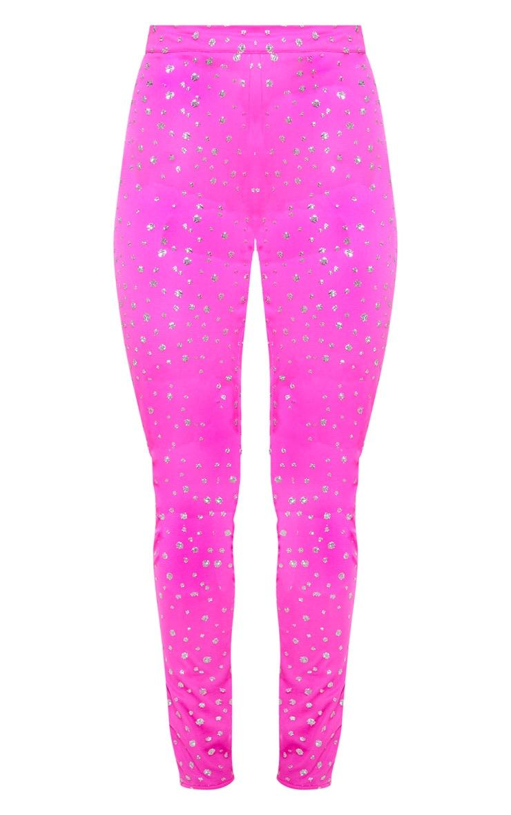 Hot Pink High Waisted Glitter Mesh Pants 3