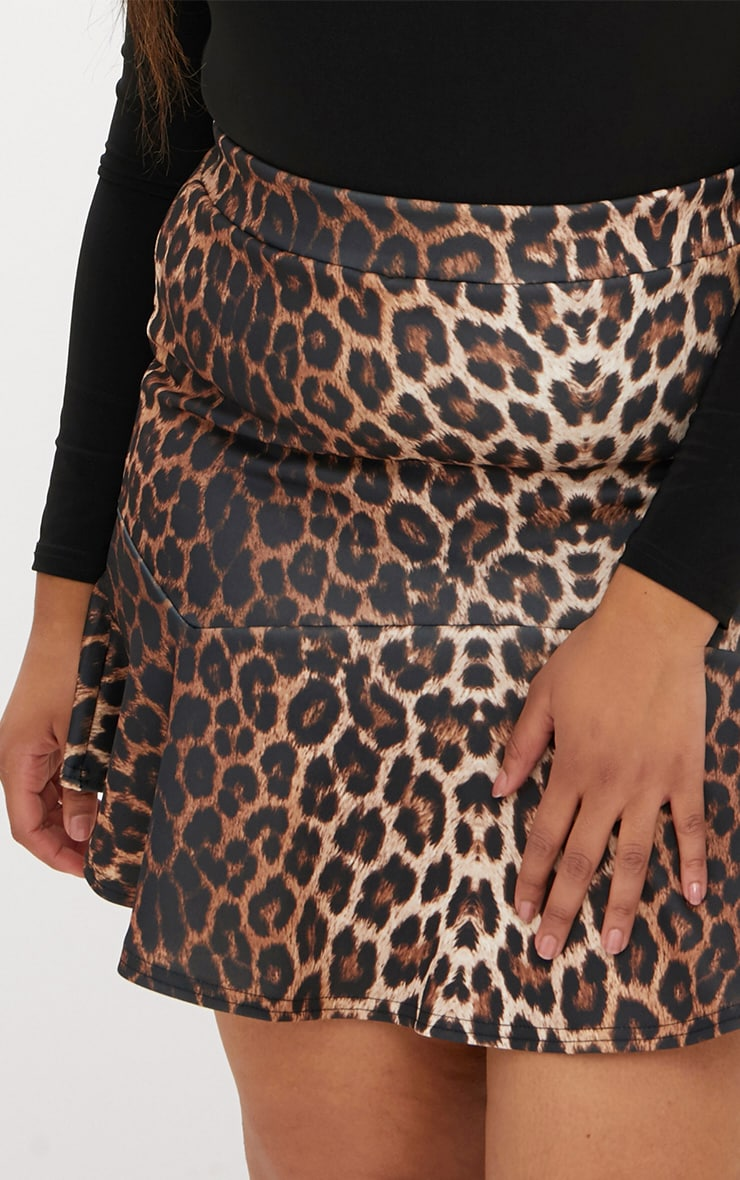 Plus Leopard Flippy Hem Skirt 5