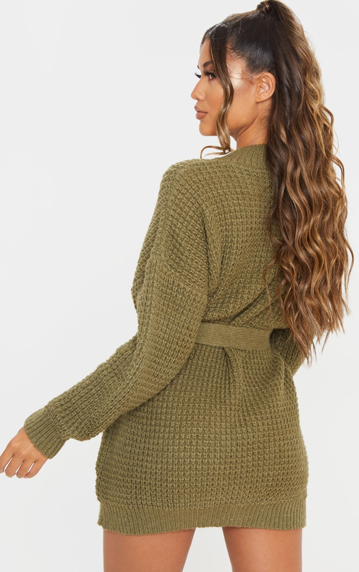 Khaki Soft Touch Belted Knitted Jumper Dress 2