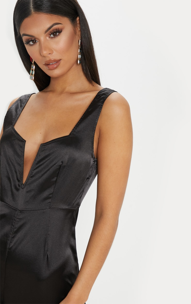 Black Satin V Bar Wide Leg Jumpsuit 5