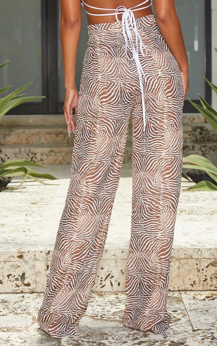 Camel Zebra Print Wide Leg Pants 3