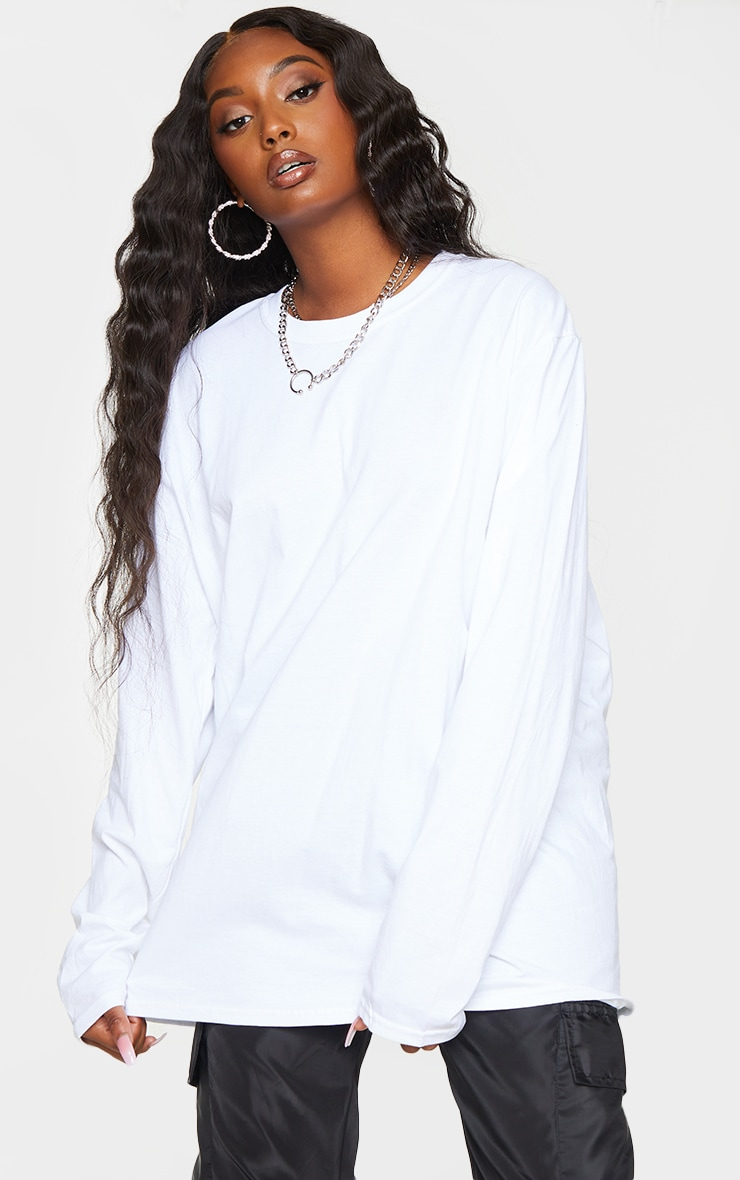 White LA Oversized Long Sleeve T Shirt 2