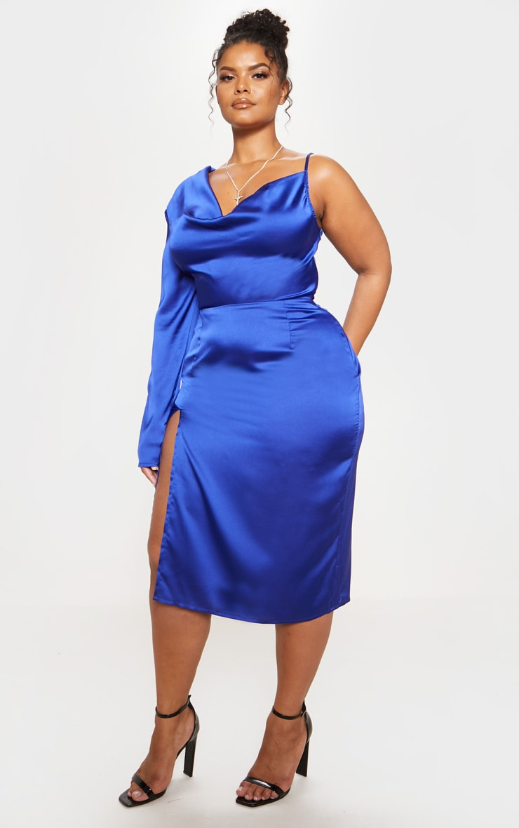 Cobalt Satin Cowl Neck Extreme Split Midi Dress 5
