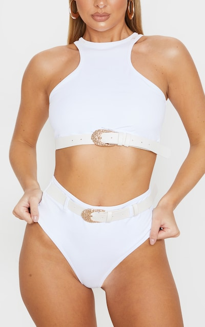 White Buckle Belted Bikini Bottom