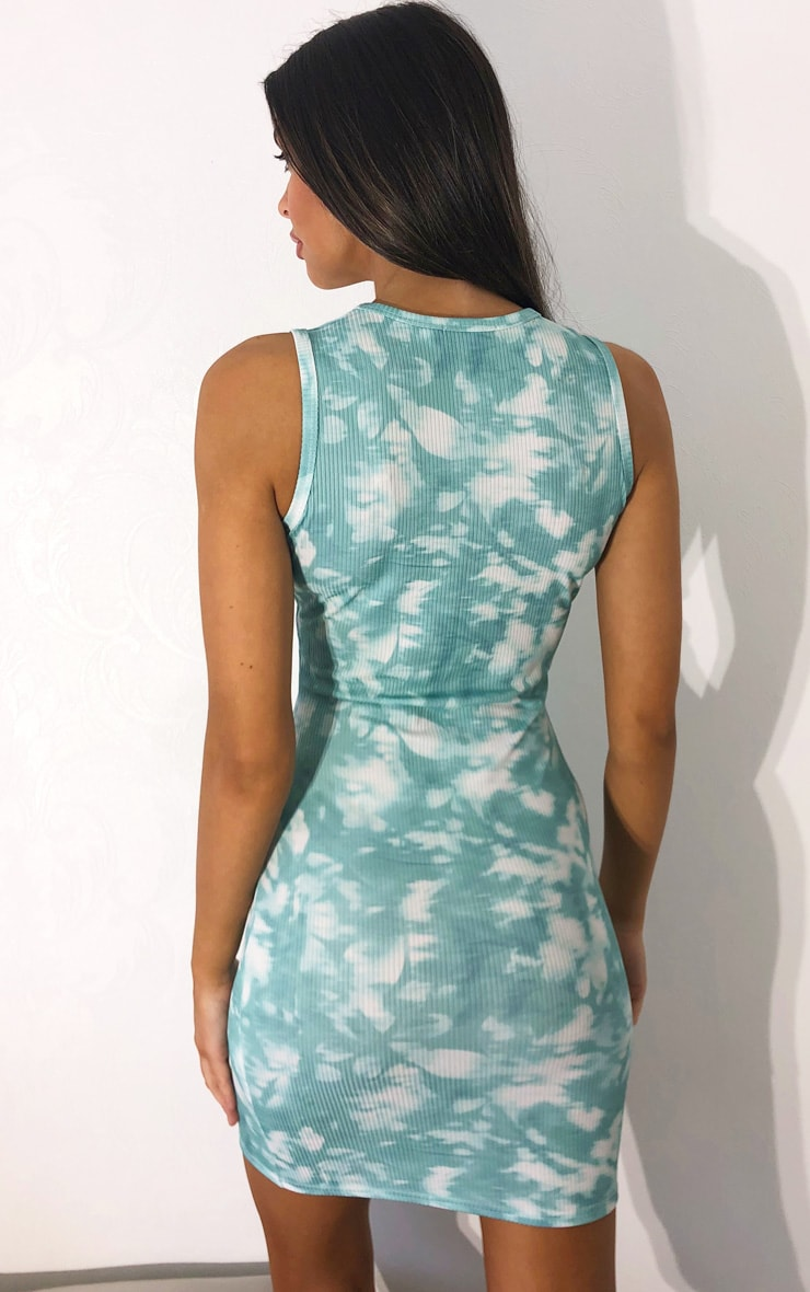 PRETTYLITTLETHING Teal Official 2020 Tie Dye Racer Neck Rib Bodycon Dress 2