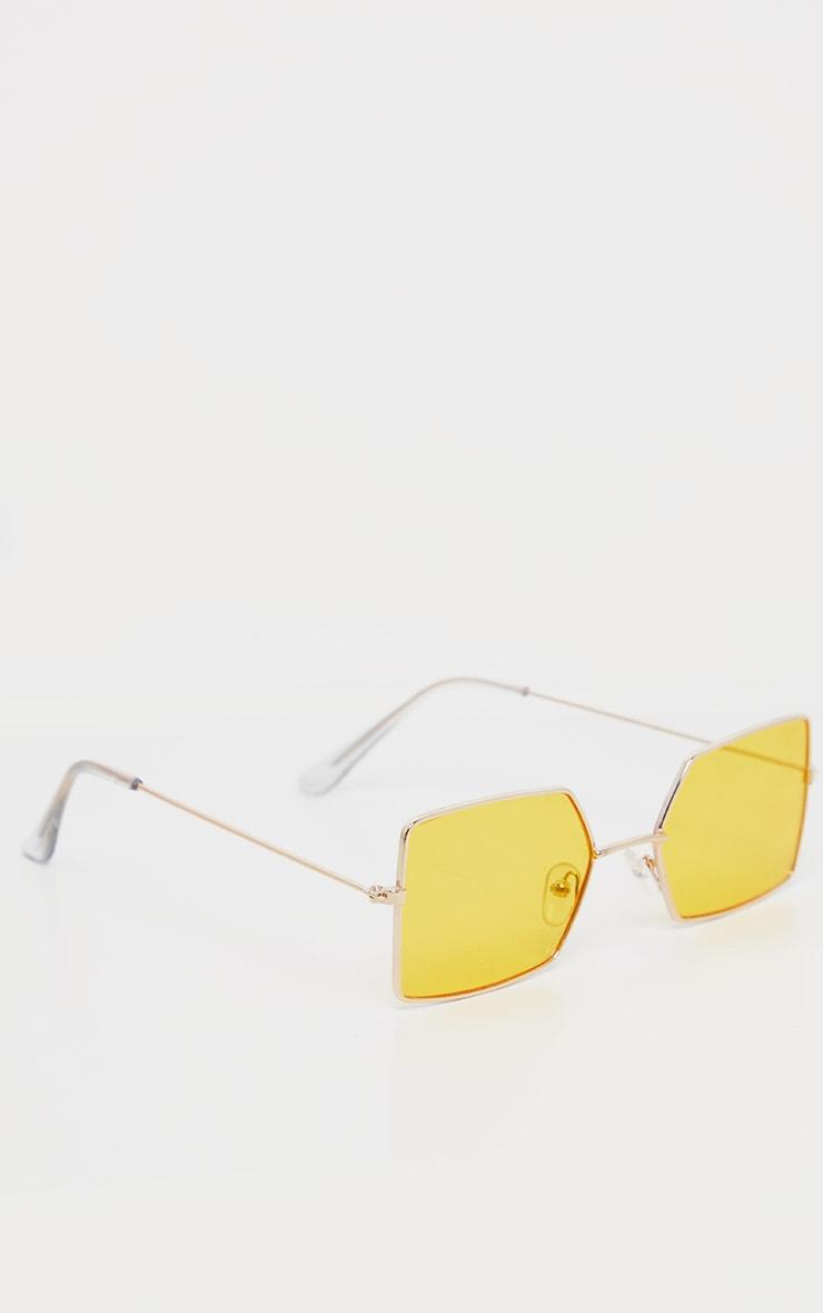 Yellow Retro Square Sunglasses 3