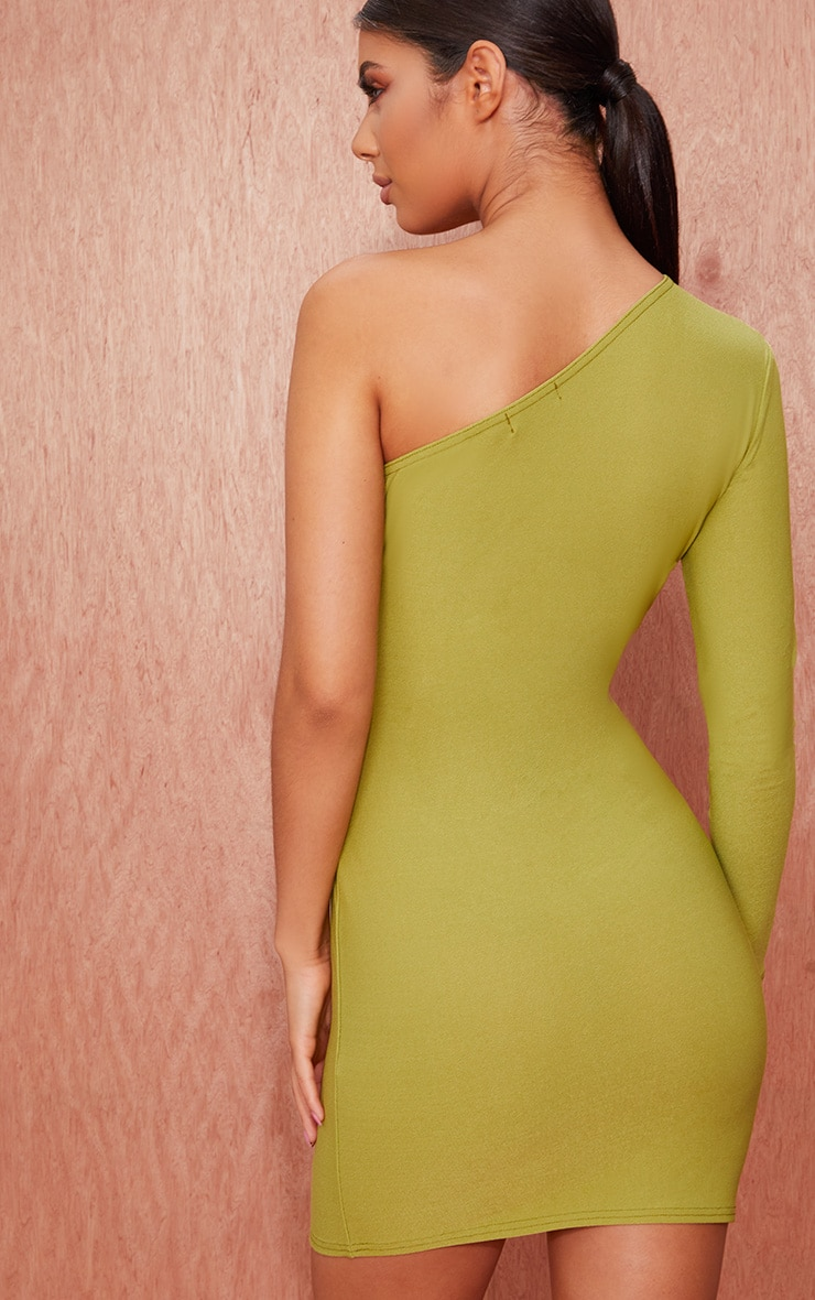 Olive Green Crepe One Sleeve Bodycon Dress 2