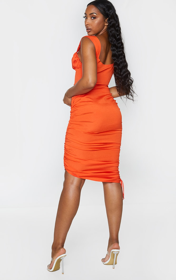 Orange Sleeveless Ruched Side Bust Detail Midi Dress 2