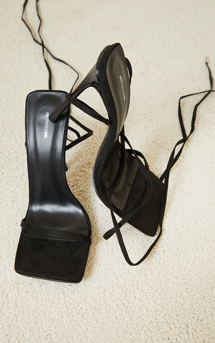 Black Faux Suede Square Toe Barely There Lace Up High Heeled Sandals 4