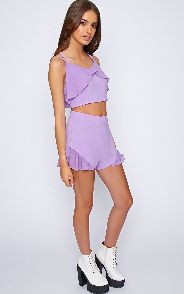 Tessa Purple Chiffon Frill Crop  3