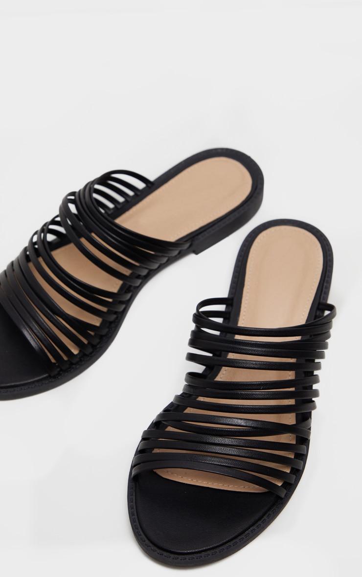 Black Strappy Mule Flat Sandal 1