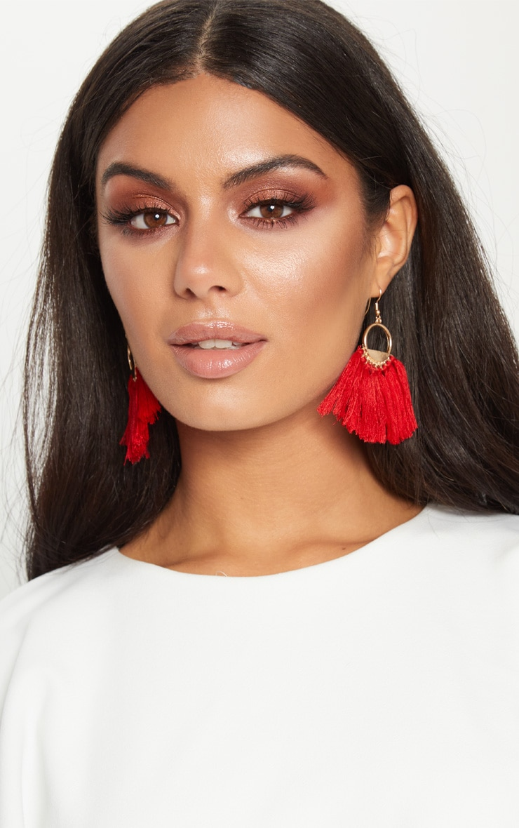 Red Tassel Hoop Earrings