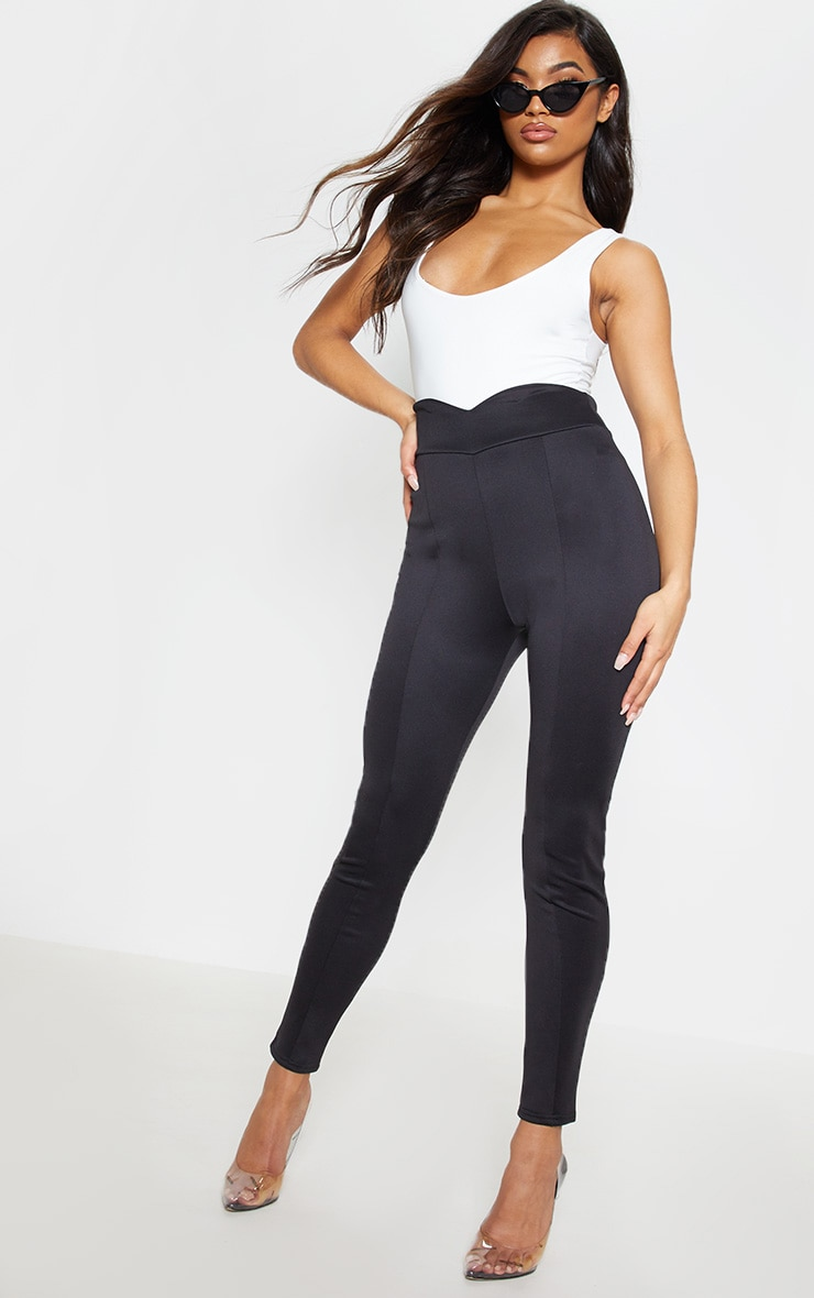 Black Scuba High Waisted V Detail Seamed Legging 2