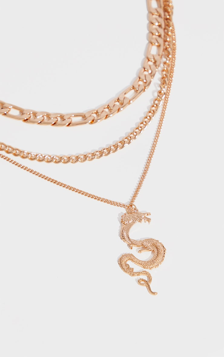 Gold Assorted Chain Dragon Layering Necklace 4