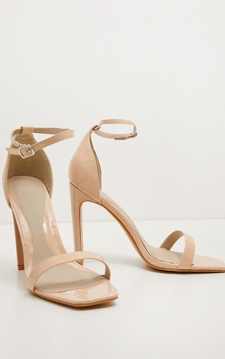 Nude Square Toe Flat Heel Sandal 3