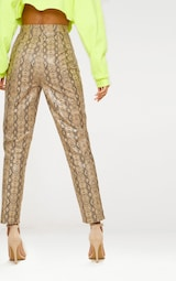 Taupe Faux Leather Snake Print Slim Leg Trousers 4