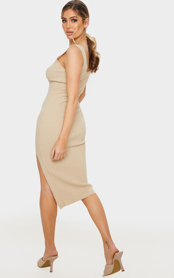 Stone V Neck Side Split Knitted Midi Dress 2