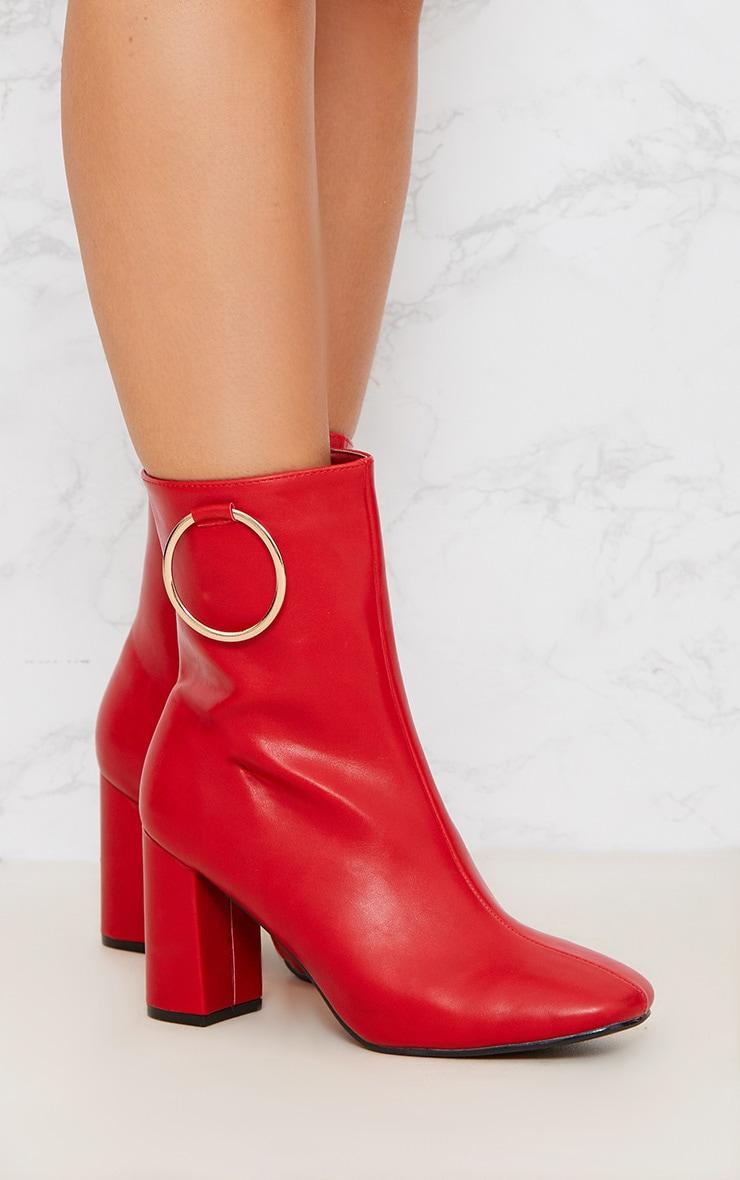 Red Ring Side Block Heel Boot 5