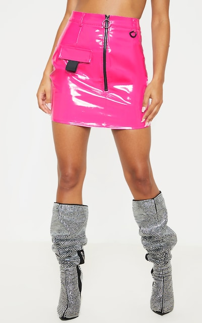 Neon Pink Vinyl Zip Detail Mini Skirt
