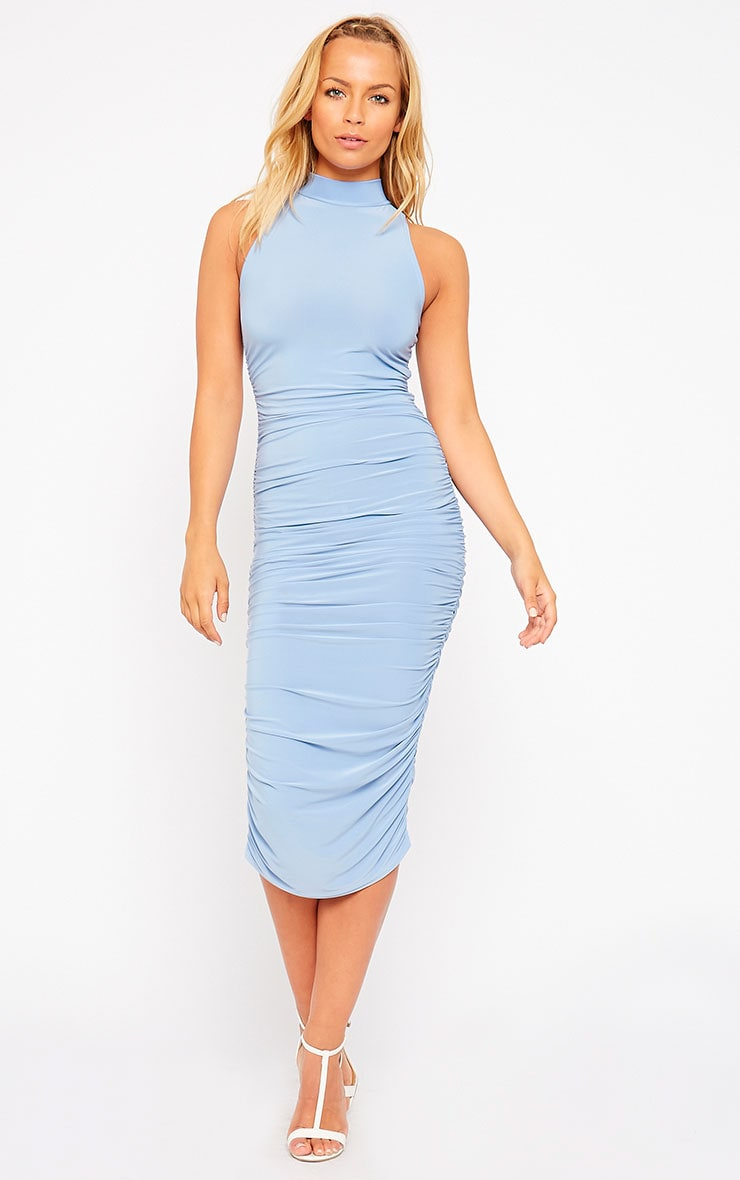 Alabama Powder Blue Slinky High Neck Ruched Sides Dress 1