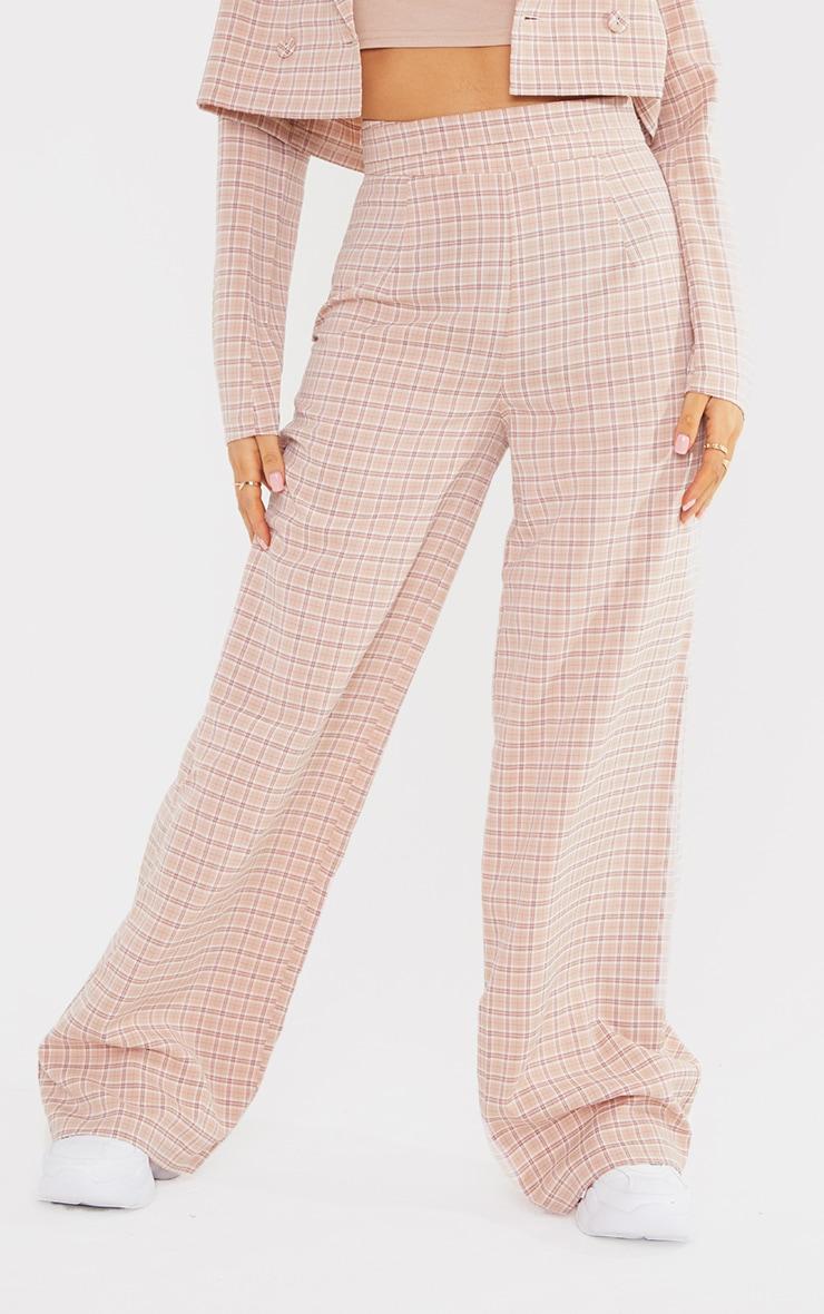 Petite Stone Check Waist Detail Wide Leg Tailored Pants 2