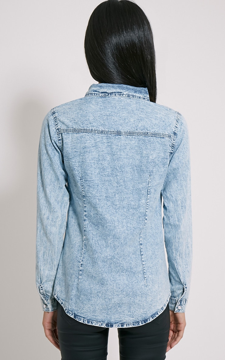 Ina Blue Acid Wash Denim Shirt 2