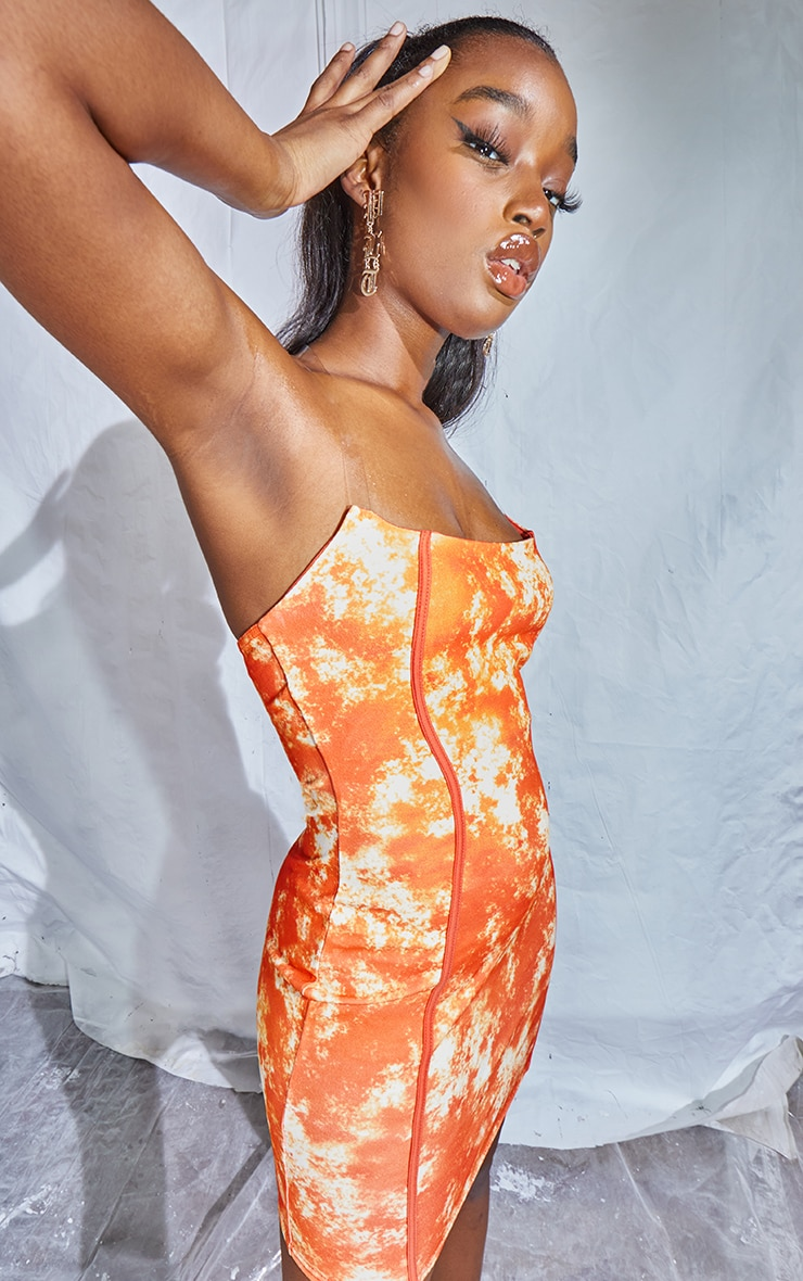 Orange Tie Dye Print Binded Detail Clear Strap Bodycon Dress 4
