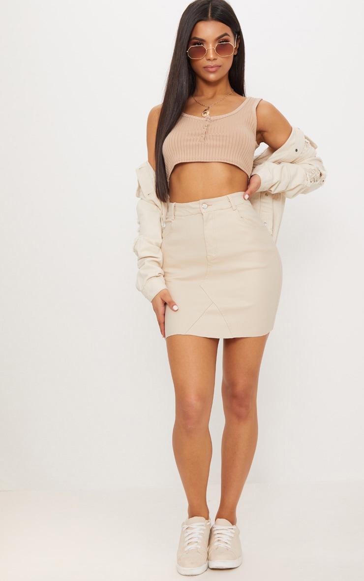 Stone Coated Denim Skirt 5