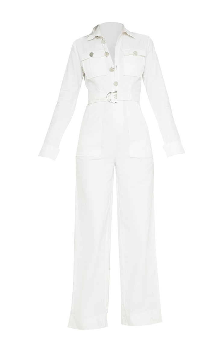 White Pocket Detail Wide Leg Utility Jumpsuit  3