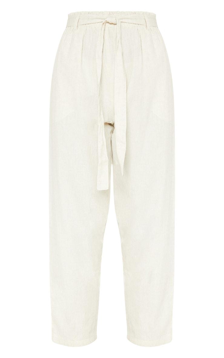 Stone Paperbag Linen Feel Tie Waist Detail Trouser 3