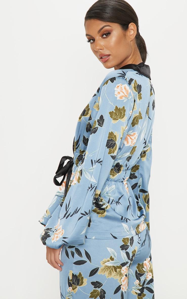 Blue Satin Floral Print Gathered Waist Collar Shirt 2
